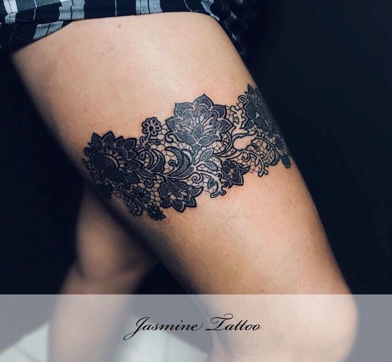 lace garter tattoo