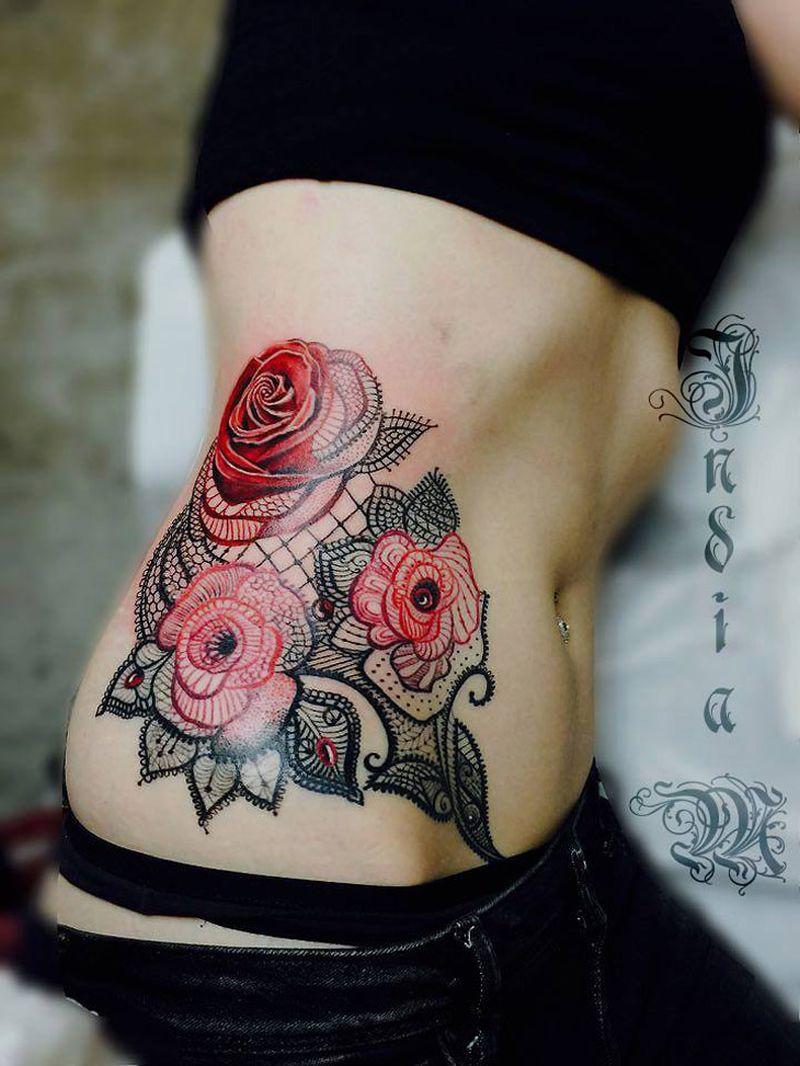 feminine lace tattoos