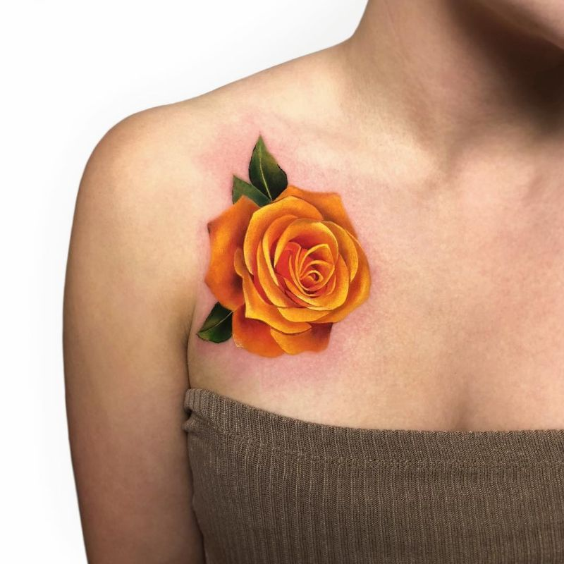 beautiful yellow rose tattoo