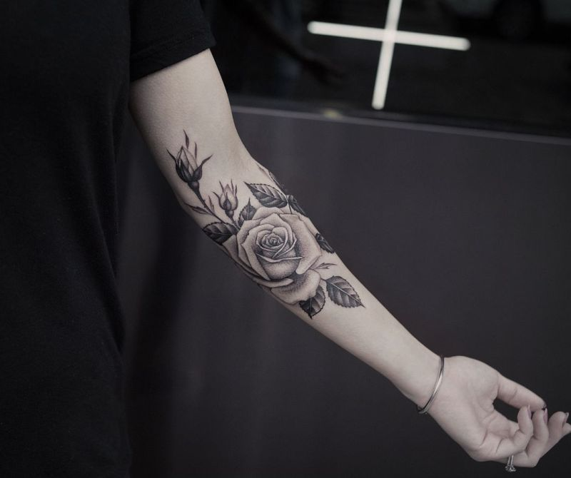 black & gray rose tattoo