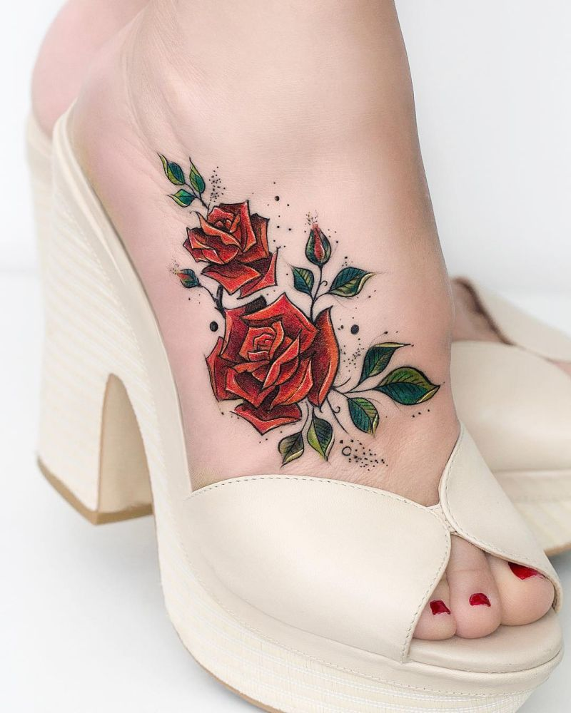 foot rose tattoo