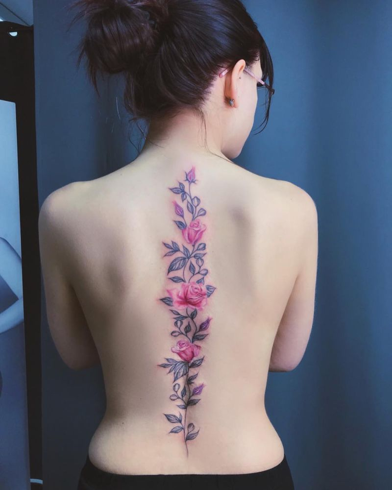 spine rose tattoo