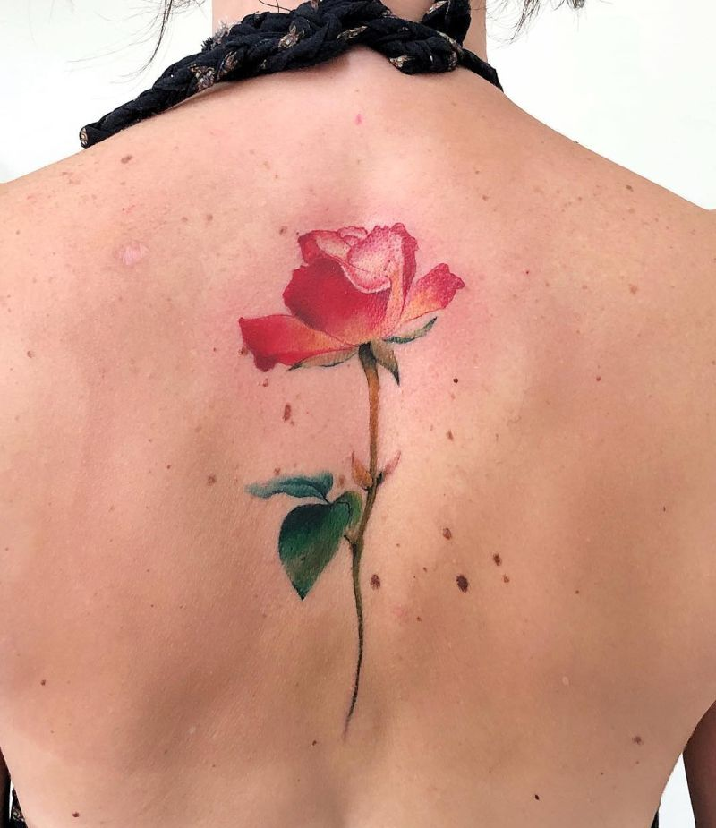 awesome watercolor rose tattoo