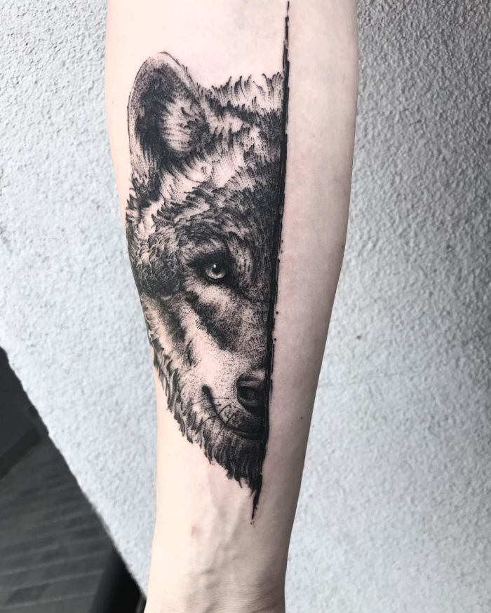 creative wolf tattoo