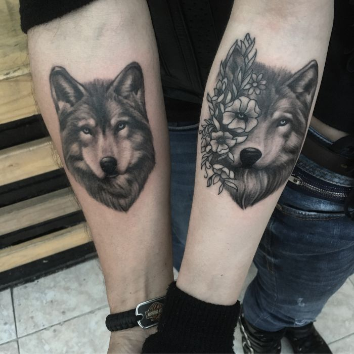 wolf couple tattoo