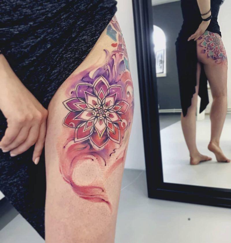 watercolor mandala tattoo