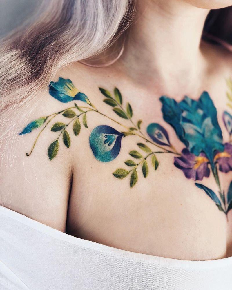 sketchy watercolor tattoo