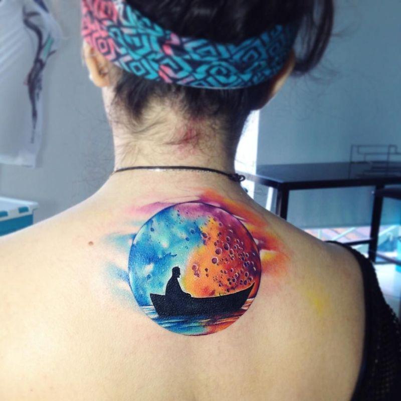 watercolor moon tattoo