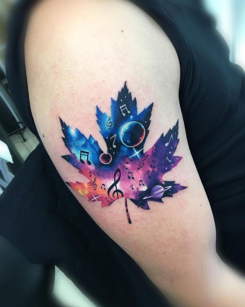 galaxy leaf tattoo Adrian Bascur
