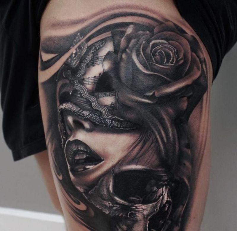 Venetian Mask Tattoo Ideas