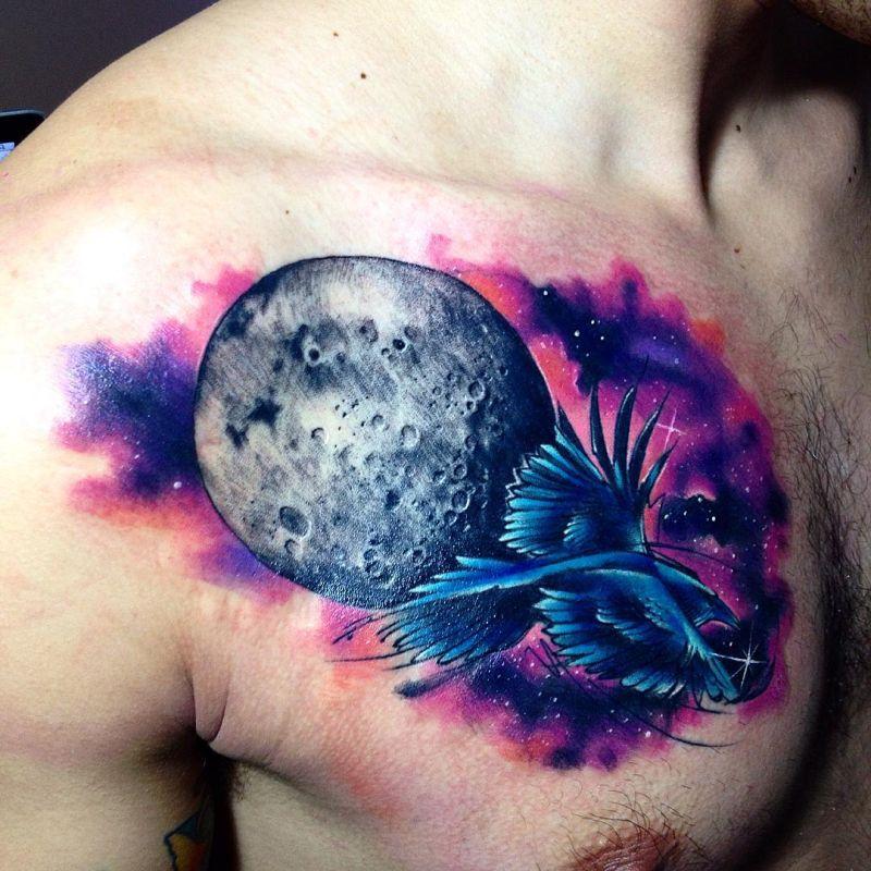 galaxy watercollor tattoo