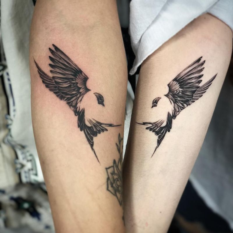 birds couple tattoos