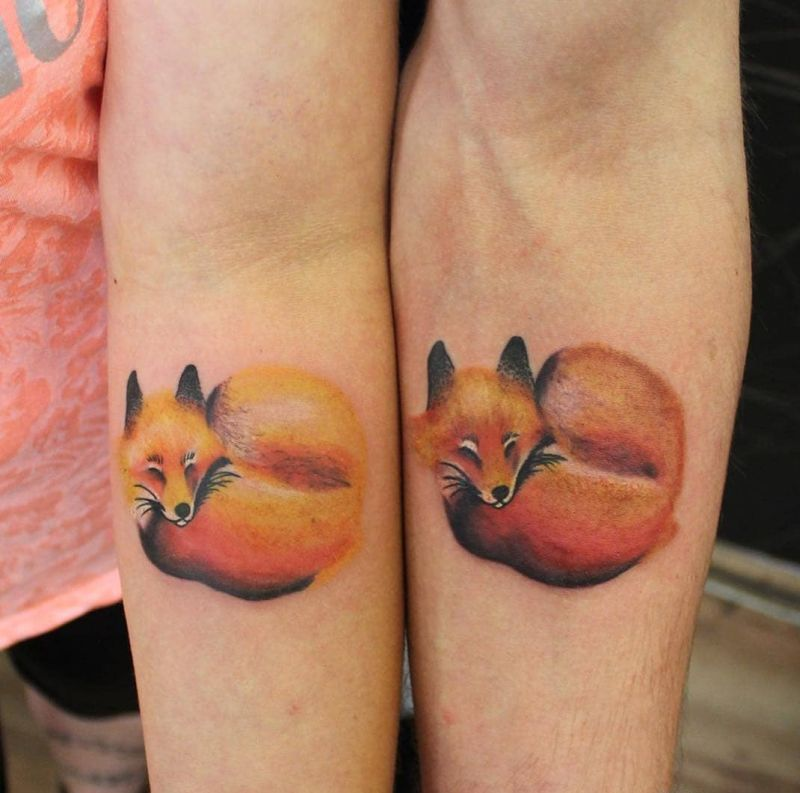 couple fox tattoo