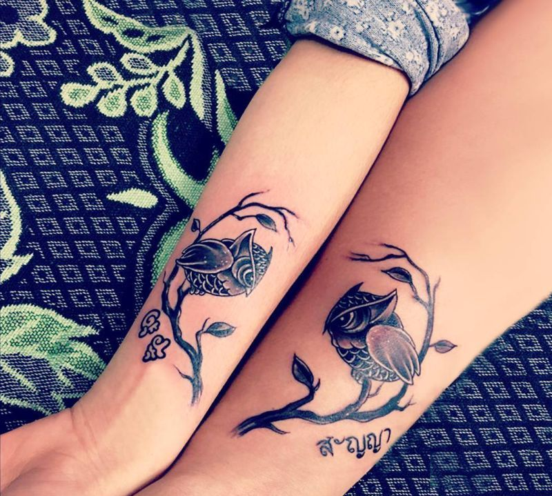 owl matching tattoos