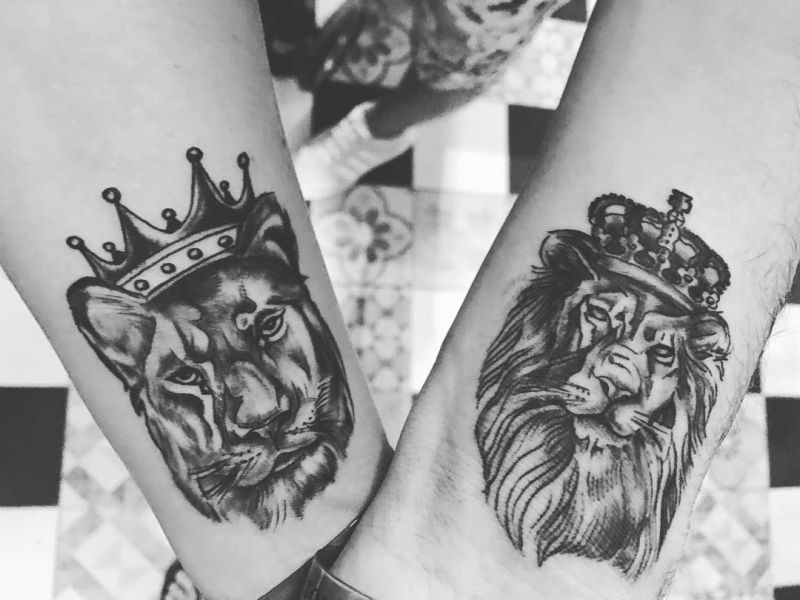 lion & lioness tattoo