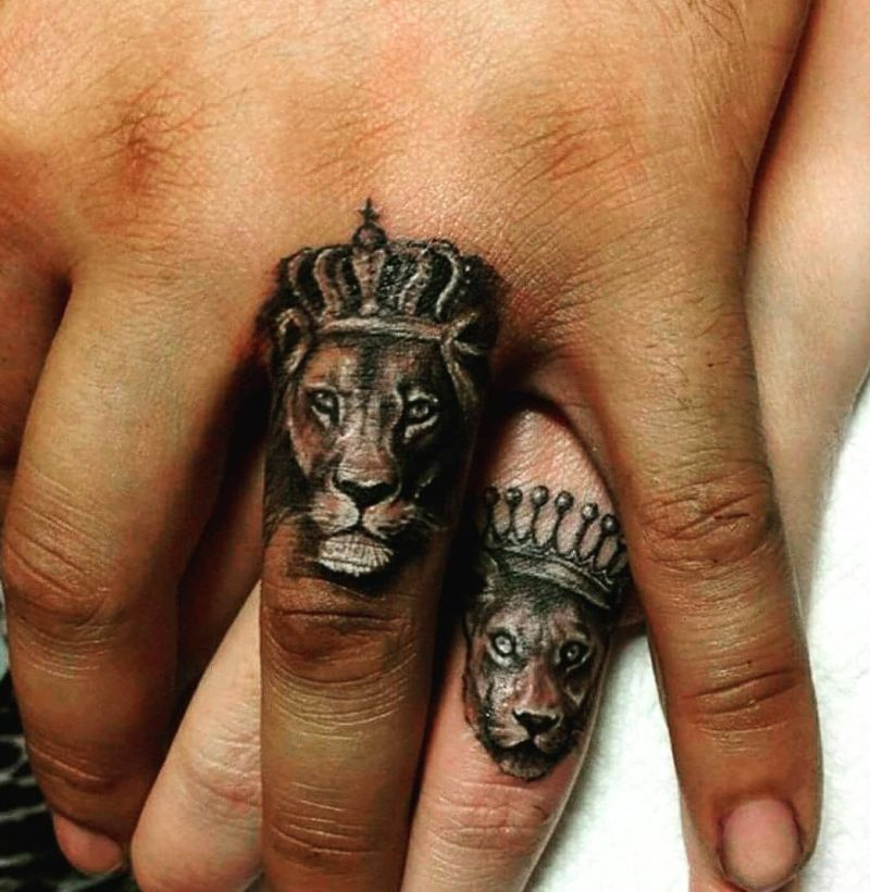 lion and lioness couple tattoo