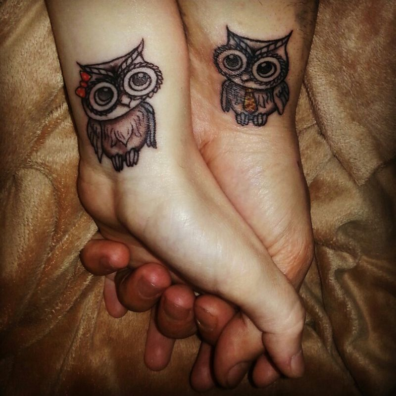 owl couple tattoo