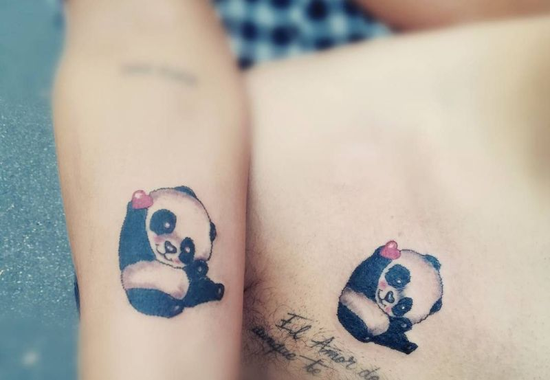 cute panda tattoo for couples