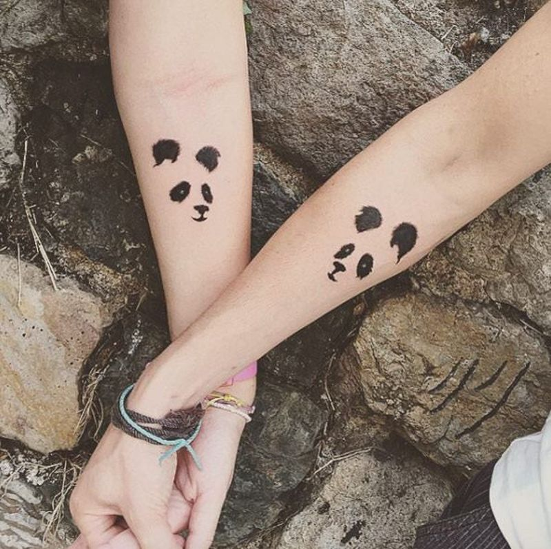 panda couple tattoo