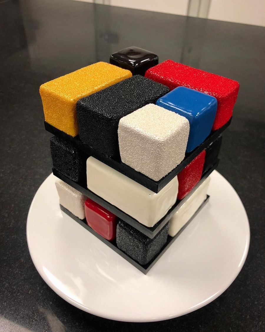 almost too beautiful to eat - Rubik Cube Cake by Cedric Grolet