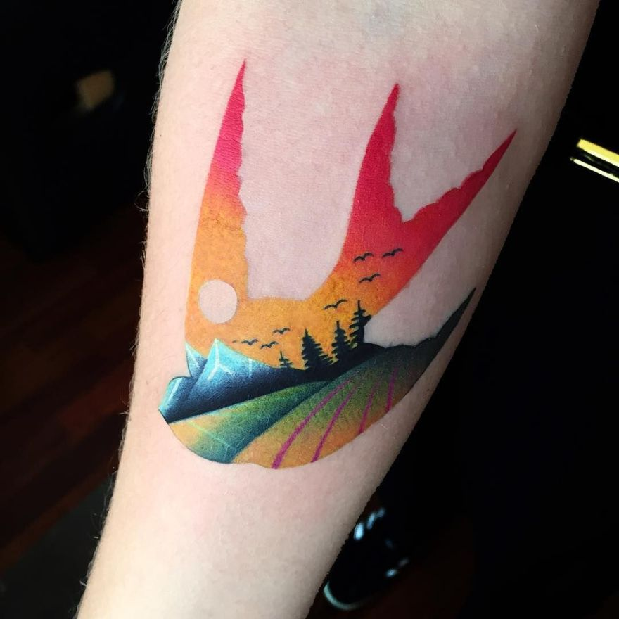 colorful double exposure tattoos