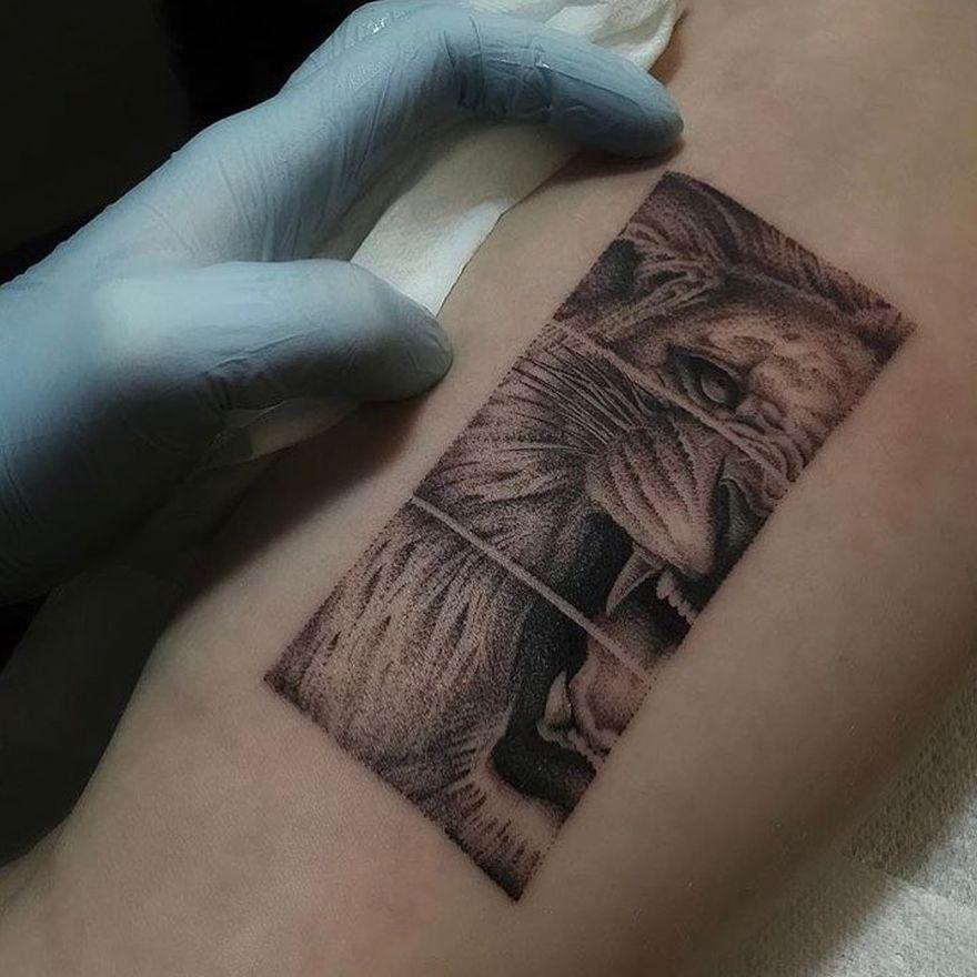fine line lion tattoo
