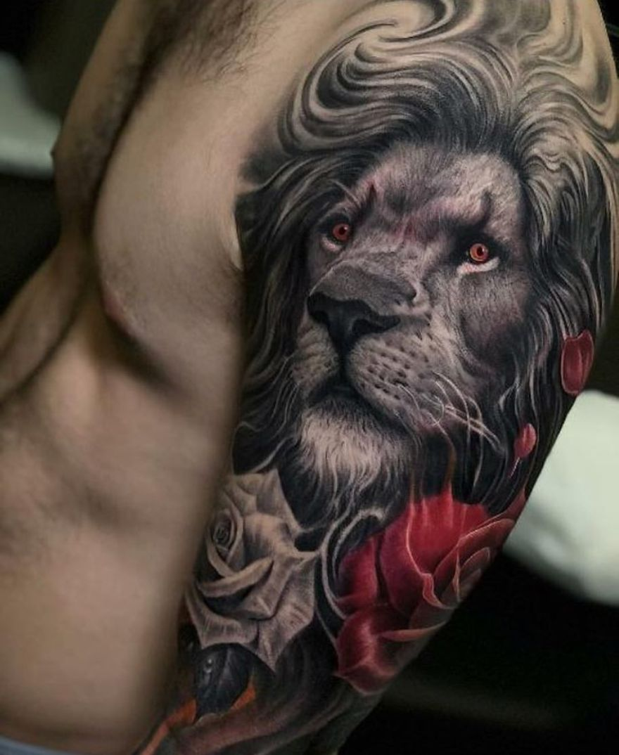 killer lion tattoo idea