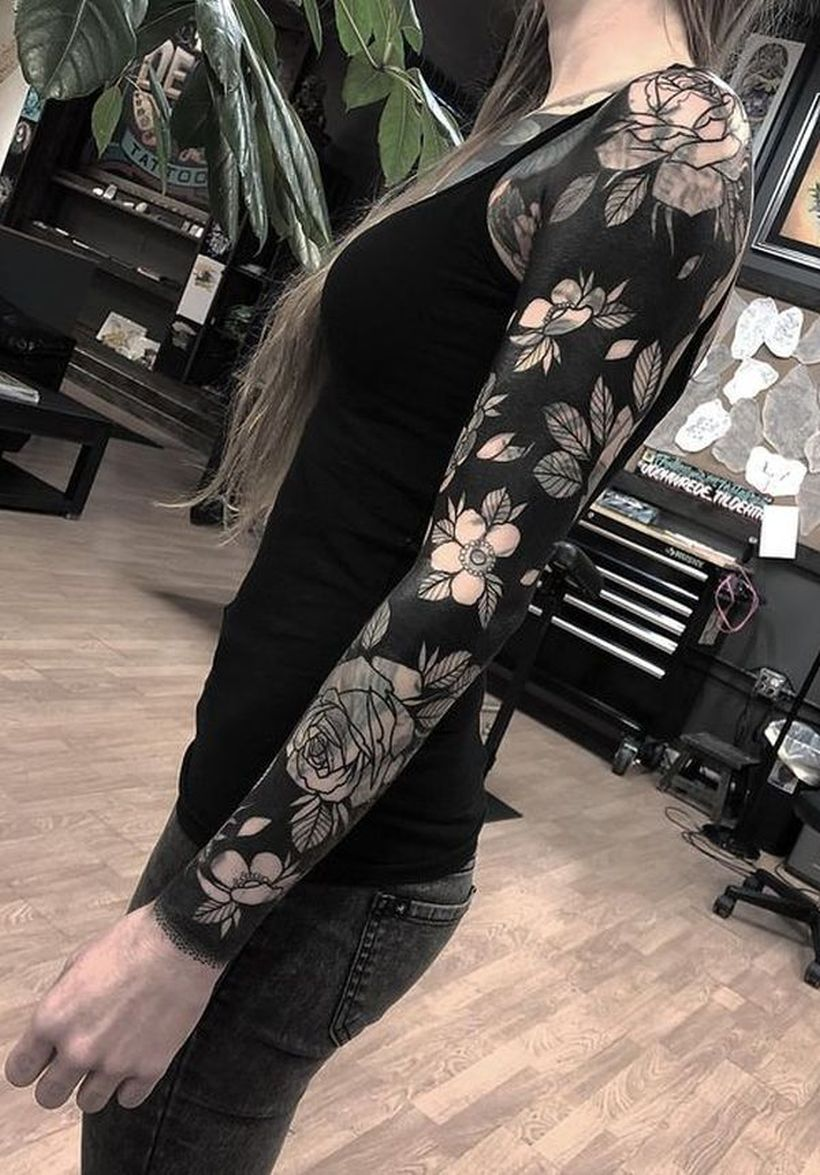 solid black tattoos for women