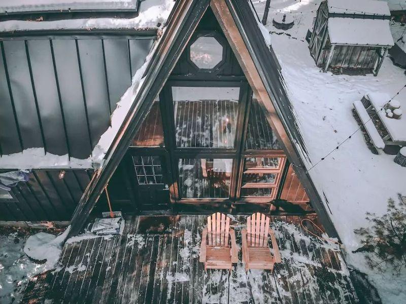 modern A-frame cabin