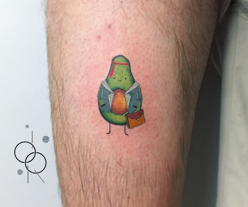 funny avocado tattoo
