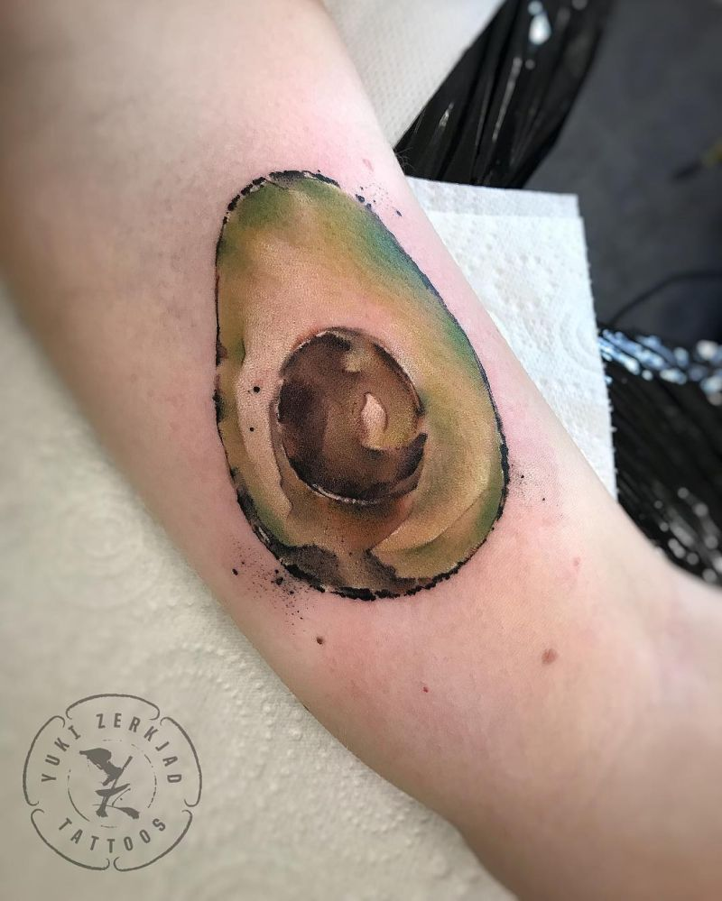 watercolor avocado tattoos