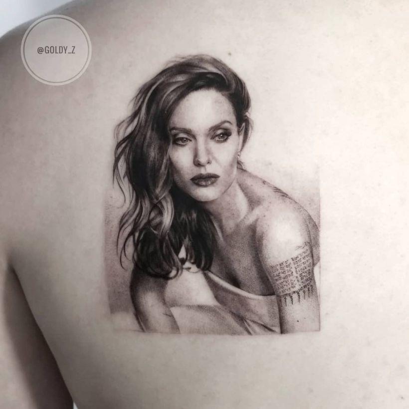 Angelina Jolie realistic tattoo