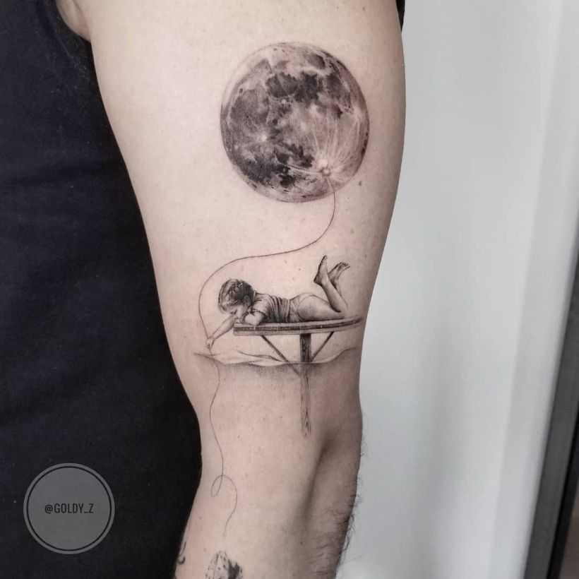 cute fine line realistic tattoo
