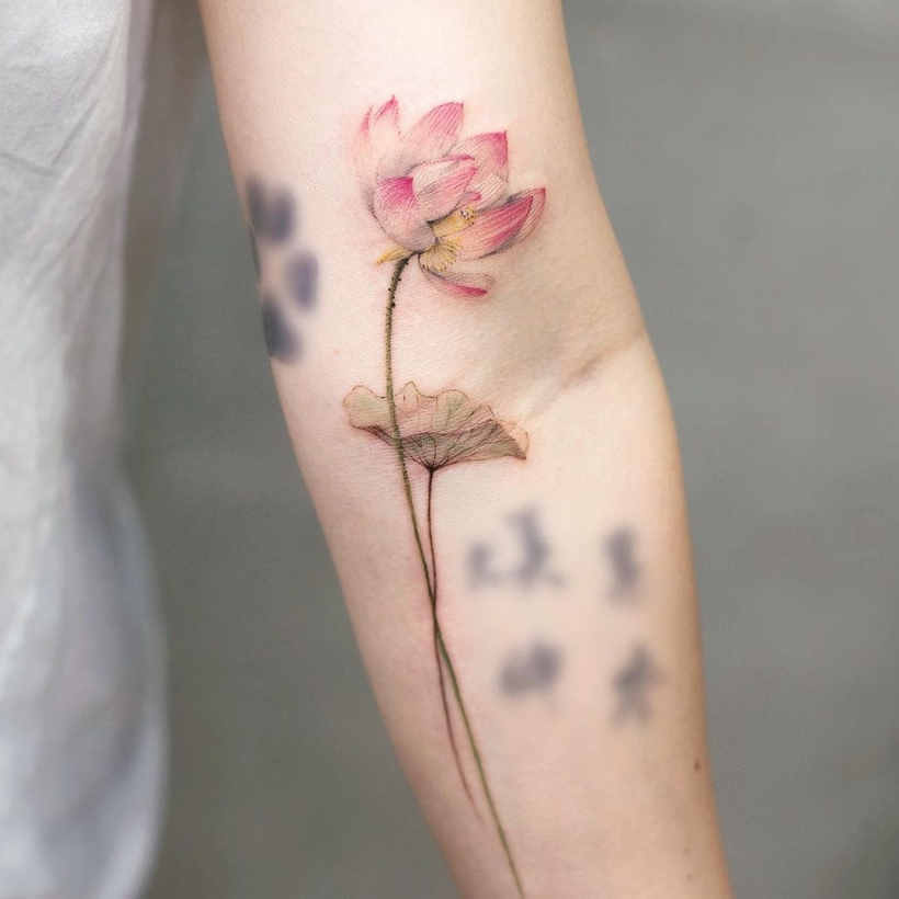 watercolor water lily tattoos