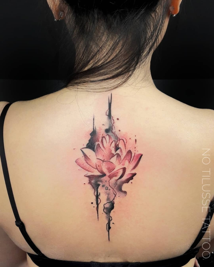 watercolor water lily tattoo