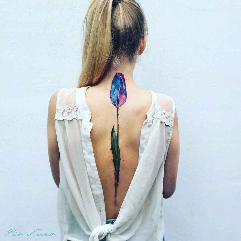 cool floral spine tattoo