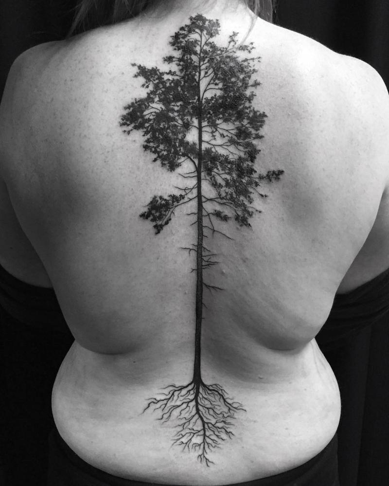 tree spine tattoo