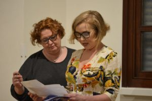 Director Trudi Rees working with a student on text