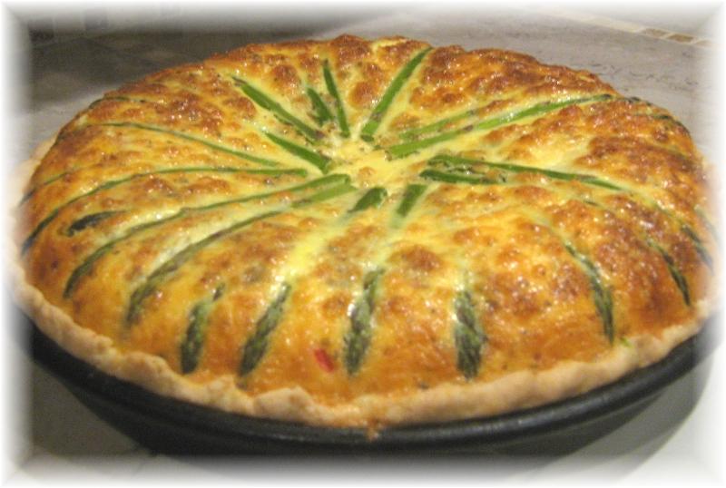Bleu cheese, fennel and asparagus quiche