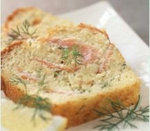 Smoked salmon, chive and lemon cake