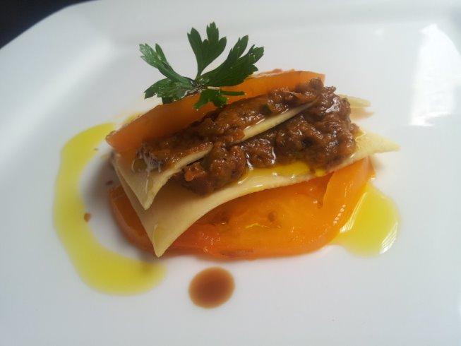 Yellow tomato and eggplant caponata lasagna salad