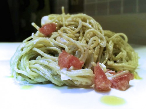 dill angel hair cream cheese tomato spring onion