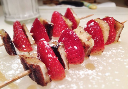 Strawberry French toast on a stick