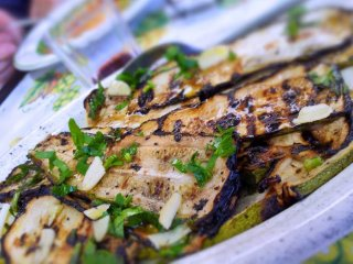 Grilled eggplant antipasto