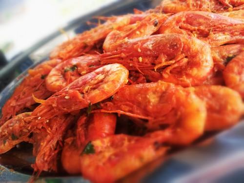 Fried shrimp scampi antipasto