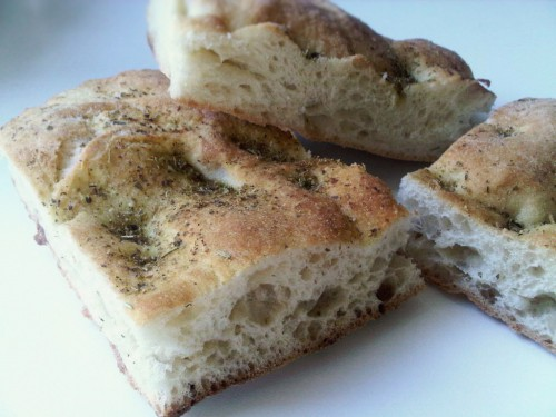 Soft focaccia bread with rosemary and garlic