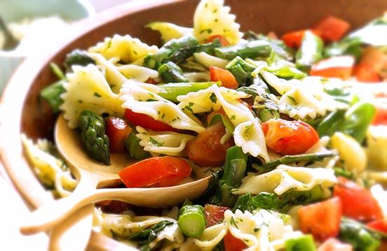 Cherry tomato, basil and asparagus pasta bow salad