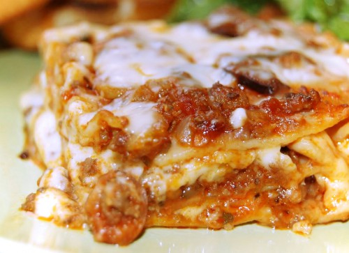 Turkey sausage lasagna with mushroom and truffle
