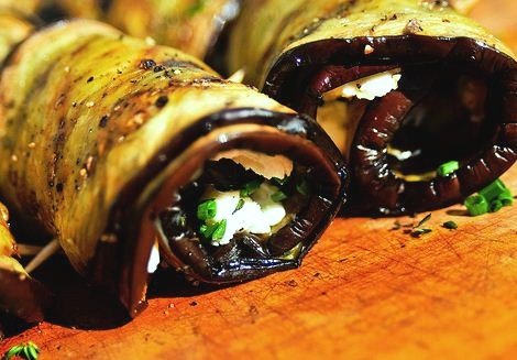 Cheese and ham eggplant rolls