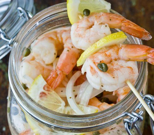 Italian-style pickled shrimp